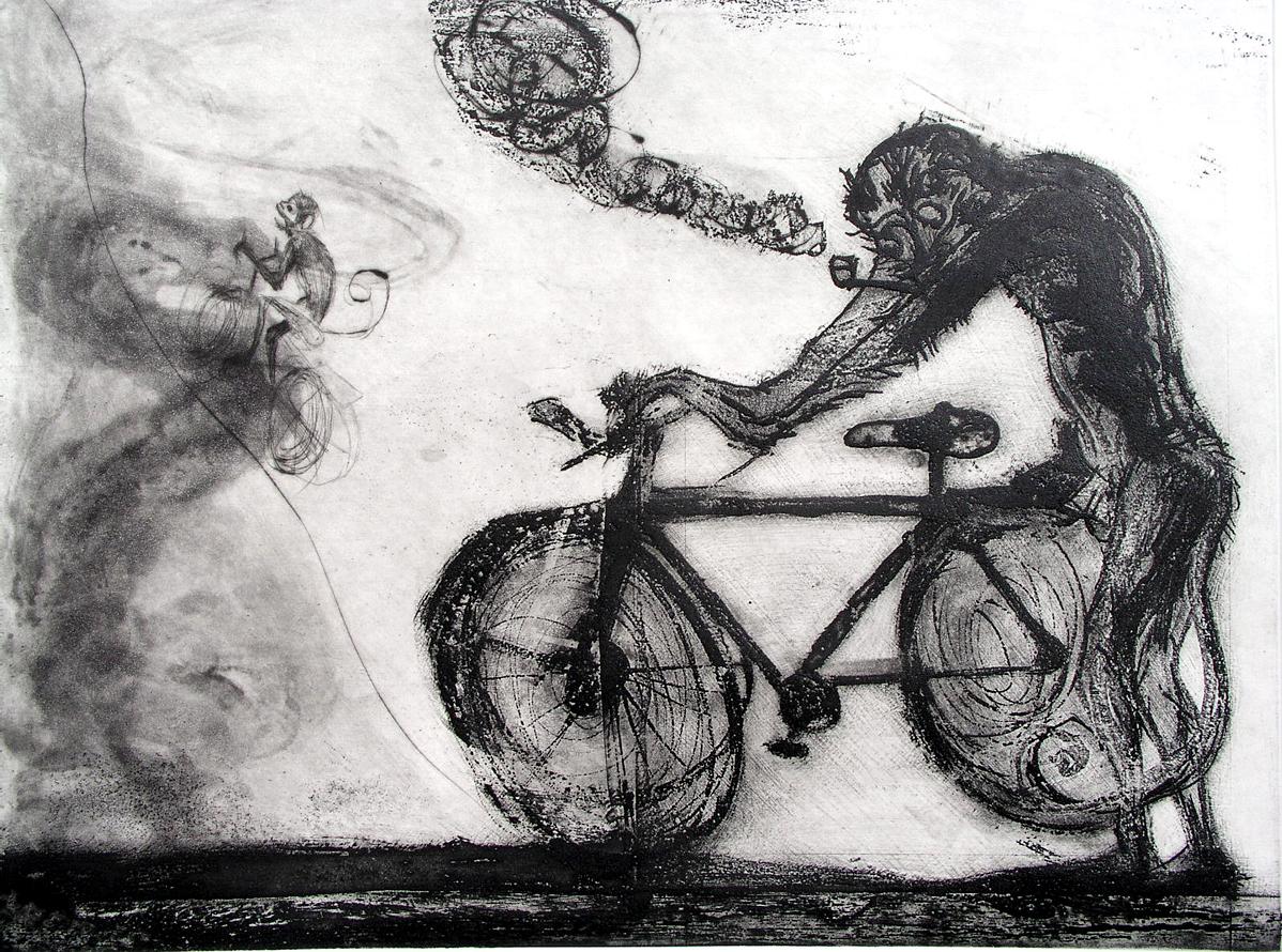 Mono con Bicicleta
