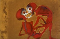 Dos Muertes Rojas-Two Red Skeletons